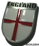 ENGLAND SHIELD BELT BUCKLE + display stand